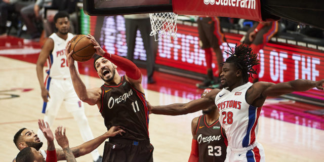 Enes Kanter has 30 rebounds with 24 points, Blazers beat Pistons 118-103