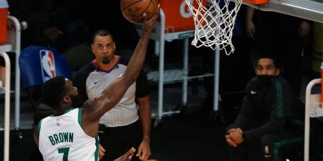Jaylen Brown scores 40, Celtics beat depleted Lakers for fifth straight win