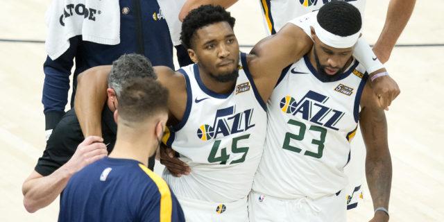 Minus injured Donovan Mitchell, Jazz rally to beat Pacers 119-111