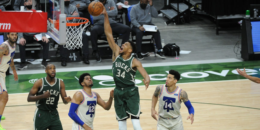 Giannis moves to No. 2 on Bucks' all-time scoring list in win over 76ers