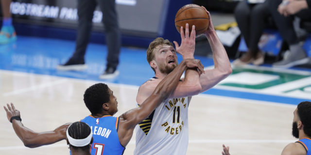 Sabonis has triple-double by half; Pacers score most points in 35 years, top Thunder 152-95