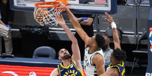 Giannis Antetokounmpo, Bucks roll past short-handed Pacers, 142-133