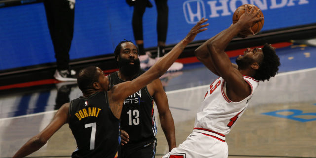 Nets finally get Harden, Irving and Durant back together, beat Bulls 105-91