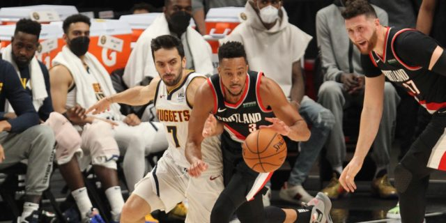 Trail Blazers beat Nuggets 115-95 in Game 4 to tie series