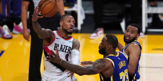 Damian Lillard, LeBron James sit courtside together at L.A. Sparks game