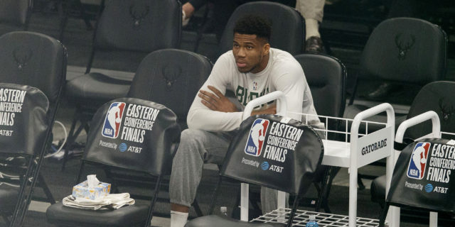Giannis Antetokounmpo out for Game 6 of WCF with knee injury