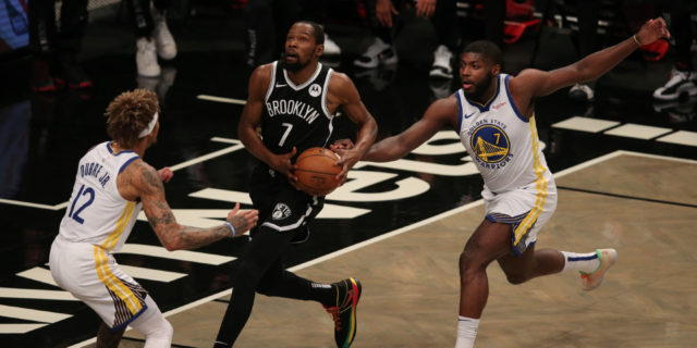 Nets blitz Warriors in NBA season opener