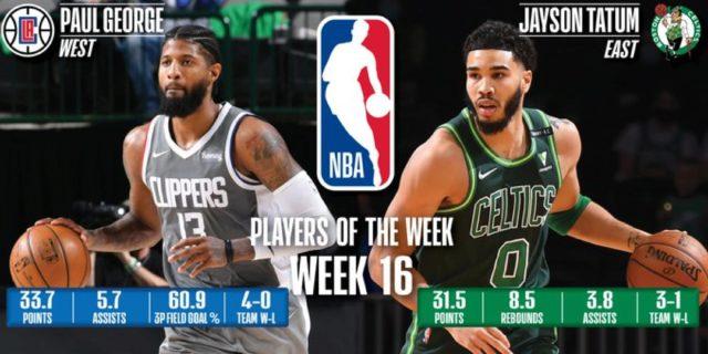 George, Tatum named NBA Players of the Week for Apr. 5-11