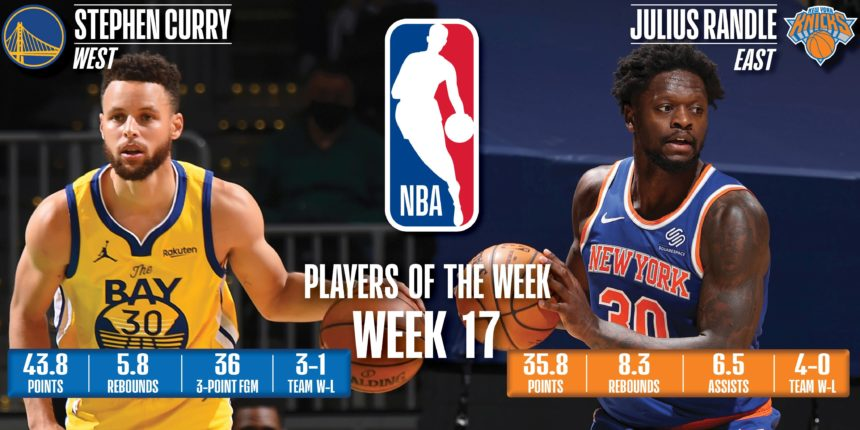 Curry, Randle named NBA Players of the Week for April 12-18