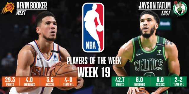 Devin Booker, Jayson Tatum earn NBA Player of the Week honors