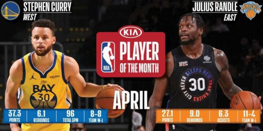 Stephen Curry, Julius Randle named April Players of the Month